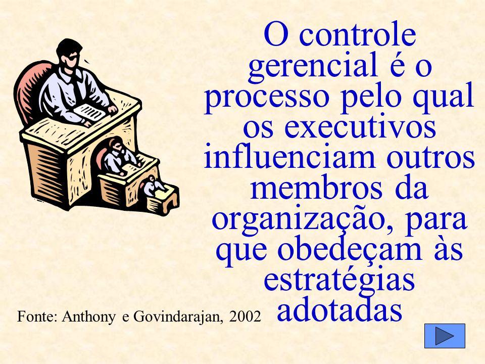 O controle gerencial é o processo pelo qual os executivos influenciam outros membros da organização, para que obedeçam às estratégias adotadas