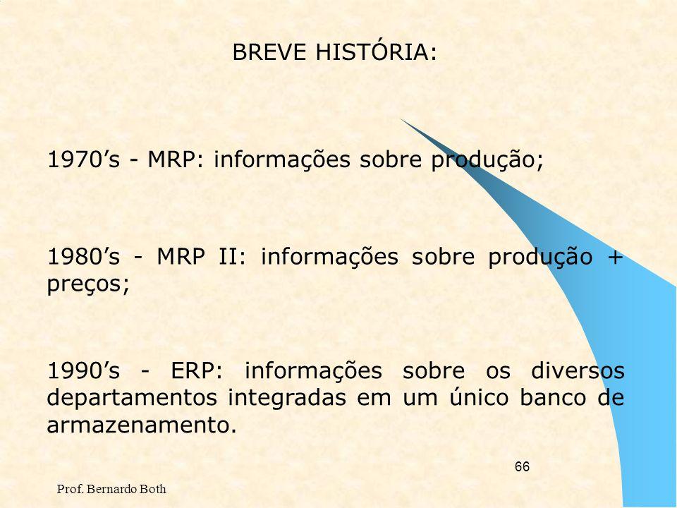 1970's - MRP: informações sobre produção;