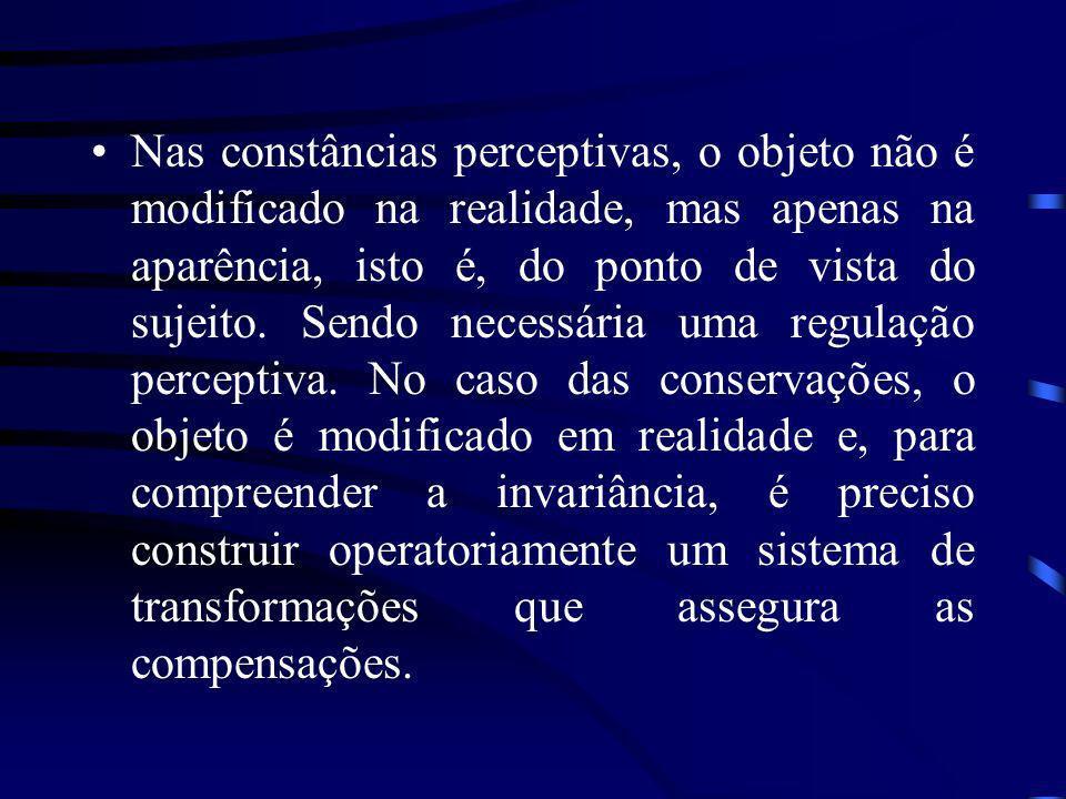 Nas constâncias perceptivas, o objeto não é modificado na realidade, mas apenas na aparência, isto é, do ponto de vista do sujeito.