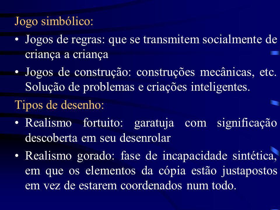 Jogo simbólico: Jogos de regras: que se transmitem socialmente de criança a criança.