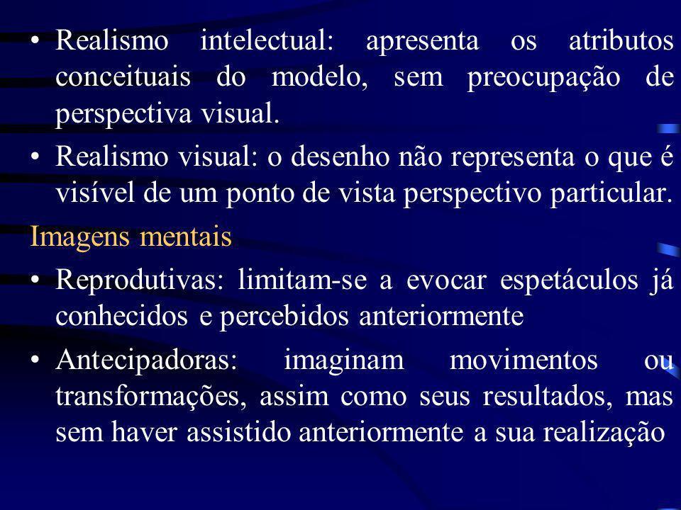 Realismo intelectual: apresenta os atributos conceituais do modelo, sem preocupação de perspectiva visual.