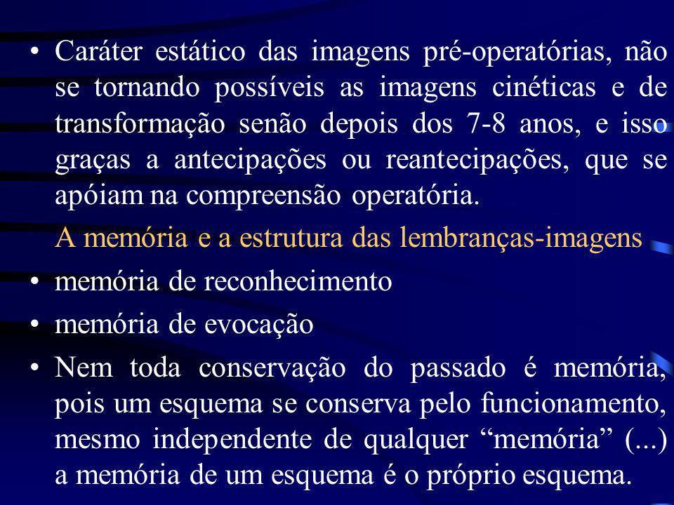 Caráter estático das imagens pré-operatórias, não se tornando possíveis as imagens cinéticas e de transformação senão depois dos 7-8 anos, e isso graças a antecipações ou reantecipações, que se apóiam na compreensão operatória.