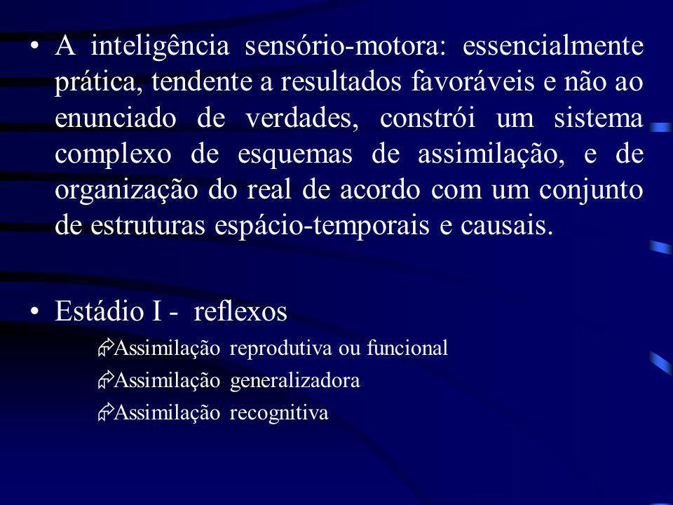 A inteligência sensório-motora: essencialmente prática, tendente a resultados favoráveis e não ao enunciado de verdades, constrói um sistema complexo de esquemas de assimilação, e de organização do real de acordo com um conjunto de estruturas espácio-temporais e causais.
