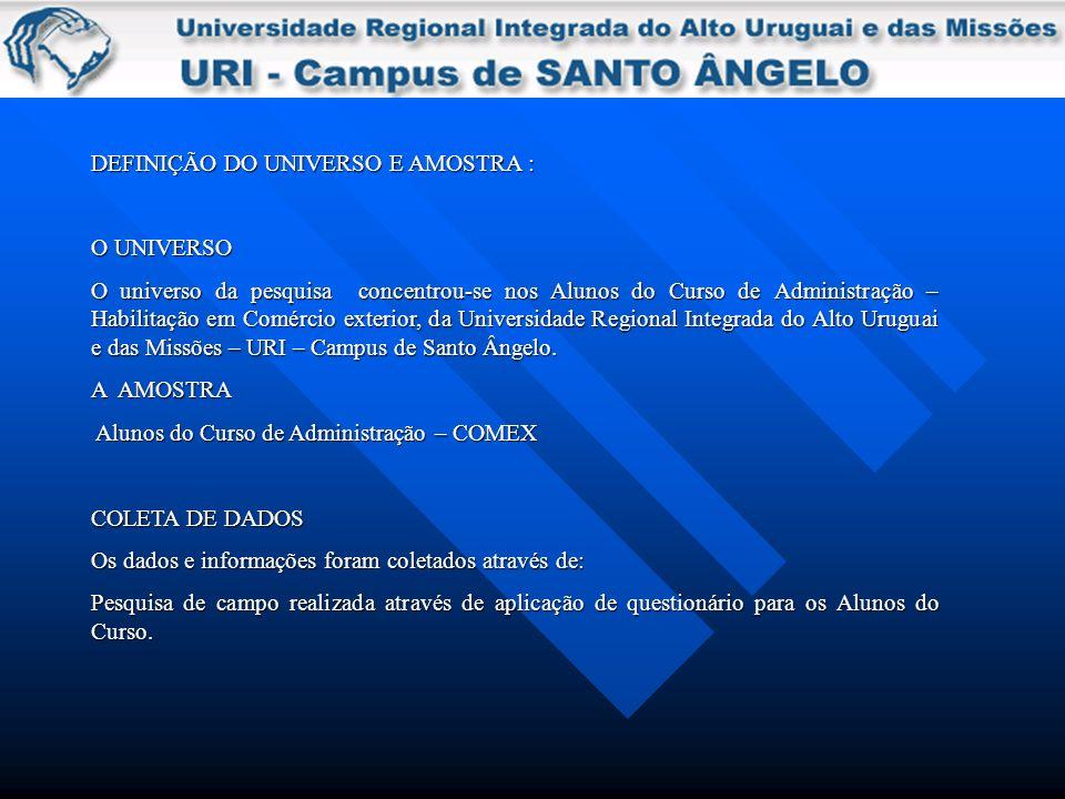 DEFINIÇÃO DO UNIVERSO E AMOSTRA :