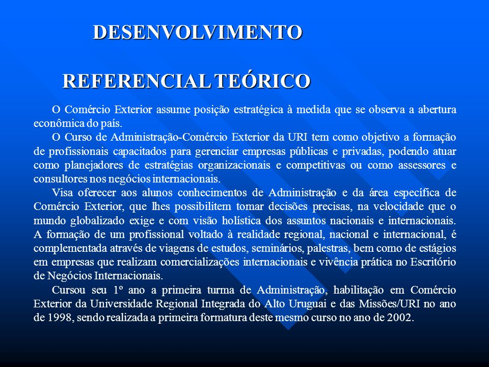 DESENVOLVIMENTO REFERENCIAL TEÓRICO