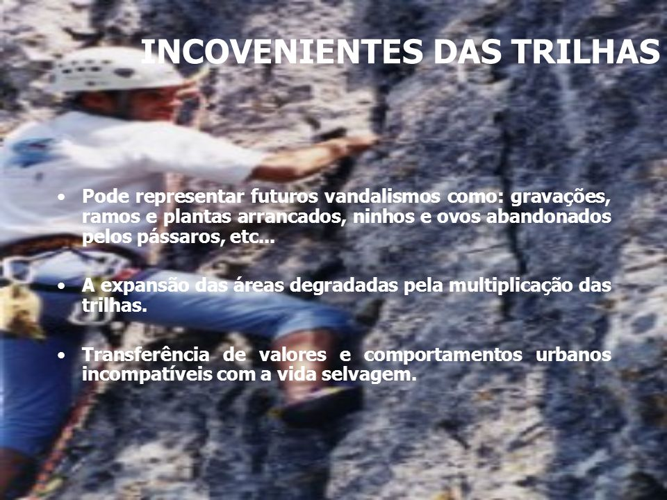 INCOVENIENTES DAS TRILHAS