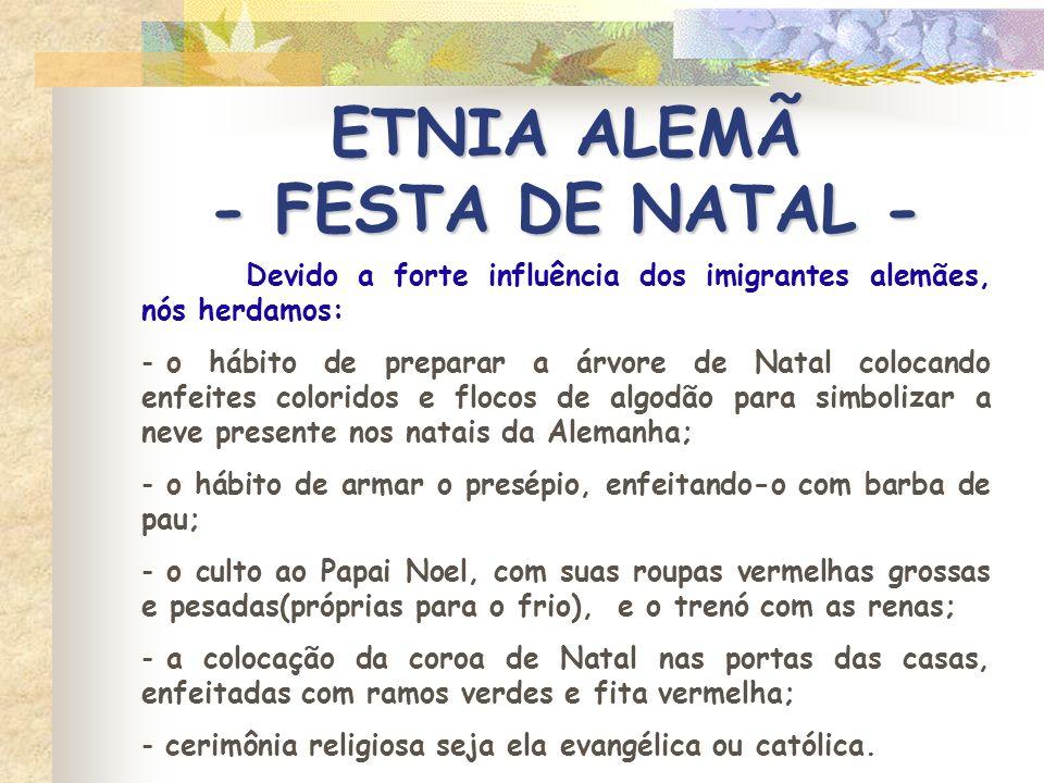 ETNIA ALEMÃ - FESTA DE NATAL -