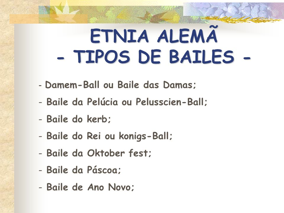ETNIA ALEMÃ - TIPOS DE BAILES -