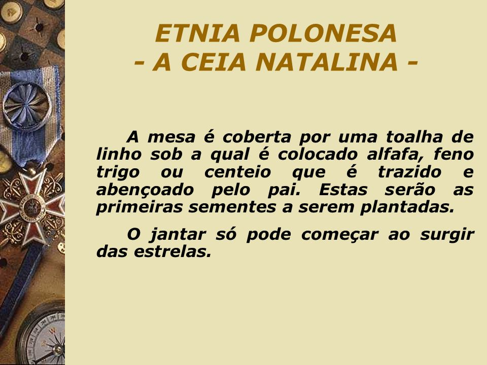 ETNIA POLONESA - A CEIA NATALINA -