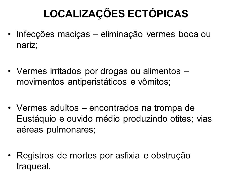 LOCALIZAÇÕES ECTÓPICAS
