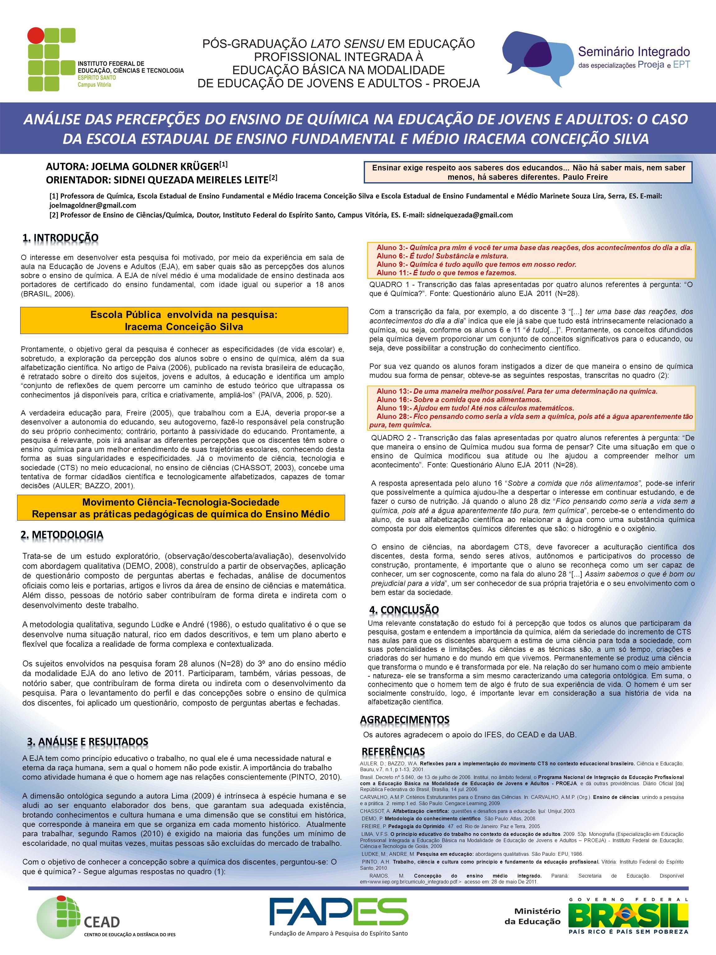 ANÁLISE DAS PERCEPÇÕES DO ENSINO DE QUÍMICA NA EDUCAÇÃO DE JOVENS E ADULTOS: O CASO DA ESCOLA ESTADUAL DE ENSINO FUNDAMENTAL E MÉDIO IRACEMA CONCEIÇÃO SILVA