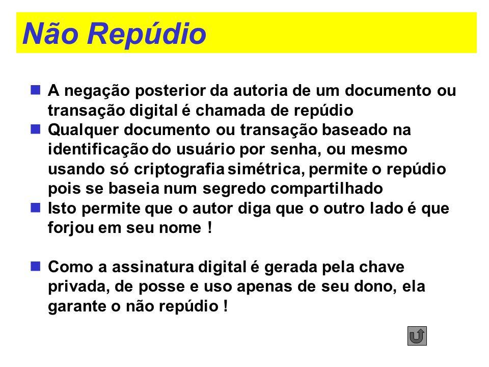 Não Repúdio A negação posterior da autoria de um documento ou transação digital é chamada de repúdio.