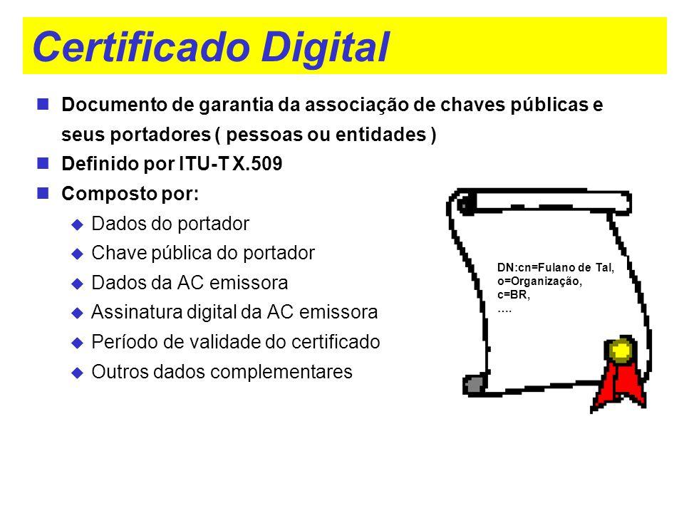 Certificado Digital Documento de garantia da associação de chaves públicas e seus portadores ( pessoas ou entidades )