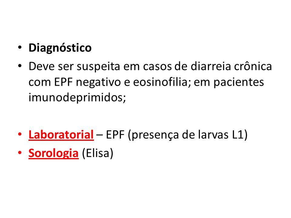 DiagnósticoDeve ser suspeita em casos de diarreia crônica com EPF negativo e eosinofilia; em pacientes imunodeprimidos;