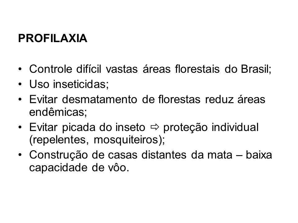 PROFILAXIA Controle difícil vastas áreas florestais do Brasil; Uso inseticidas; Evitar desmatamento de florestas reduz áreas endêmicas;