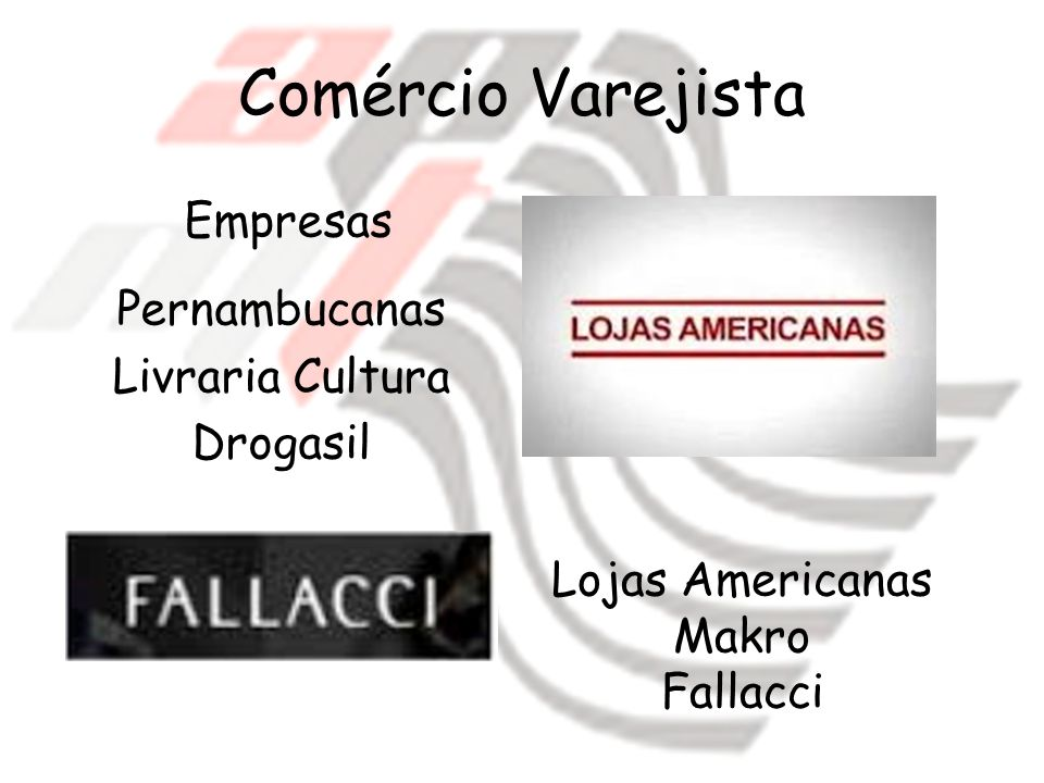 Comércio Varejista Empresas Pernambucanas Livraria Cultura Drogasil