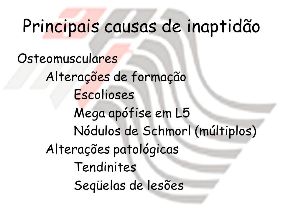 Principais causas de inaptidão