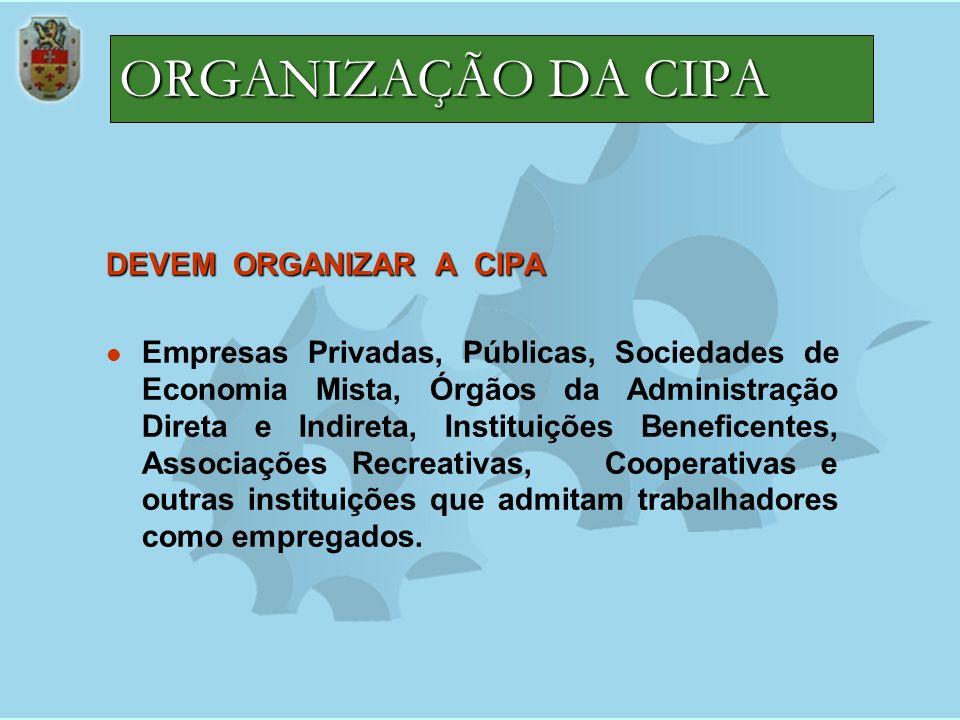 ORGANIZAÇÃO DA CIPA DEVEM ORGANIZAR A CIPA