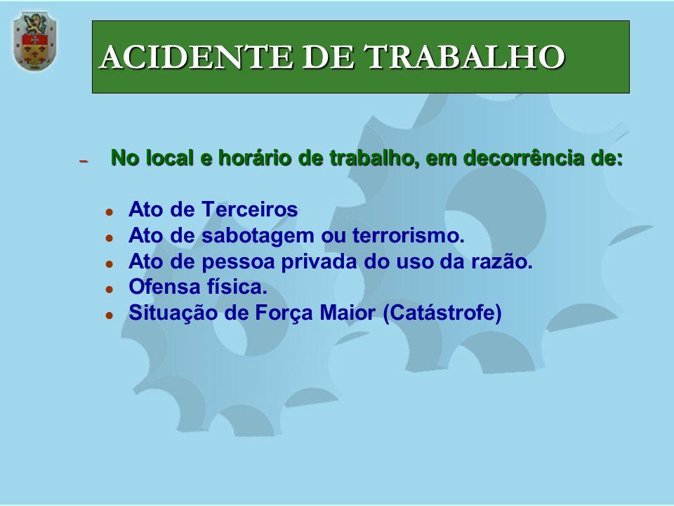 ACIDENTE DE TRABALHO No local e horário de trabalho, em decorrência de: Ato de Terceiros. Ato de sabotagem ou terrorismo.