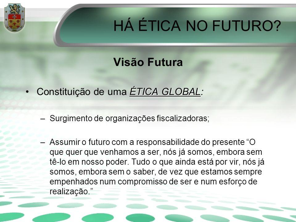 HÁ ÉTICA NO FUTURO Visão Futura Constituição de uma ÉTICA GLOBAL: