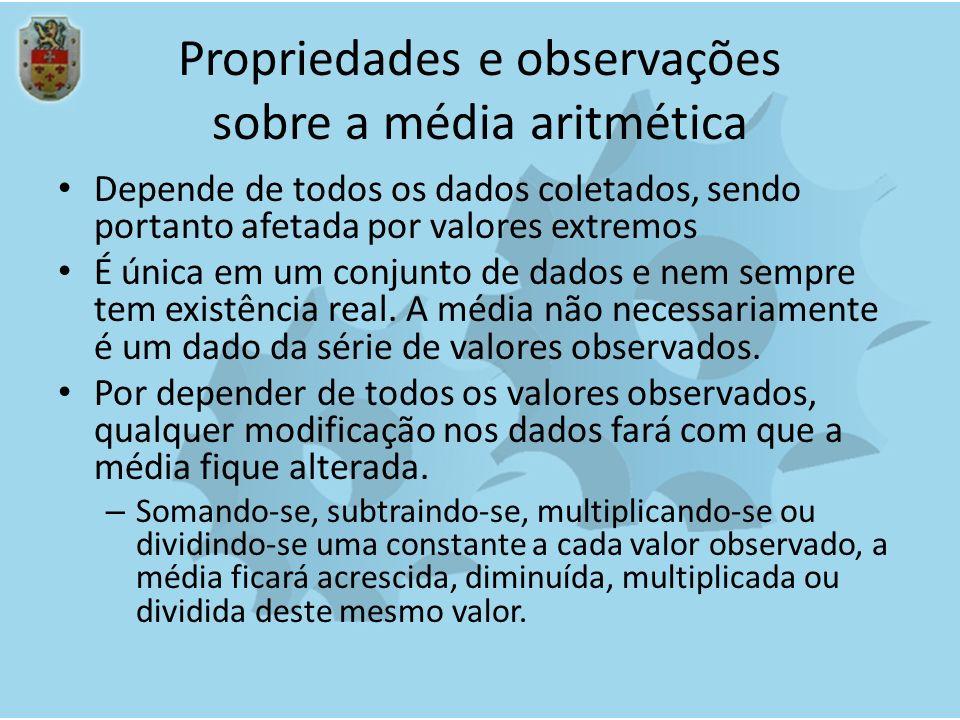 Propriedades e observações sobre a média aritmética