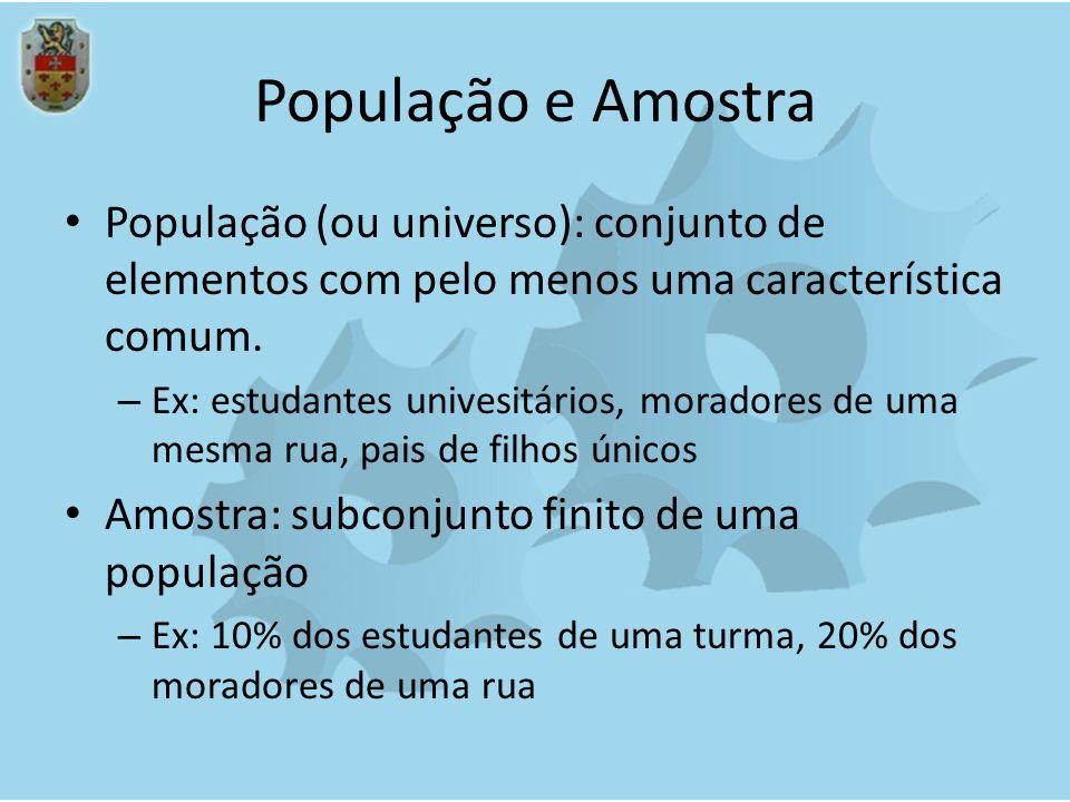 População e Amostra População (ou universo): conjunto de elementos com pelo menos uma característica comum.