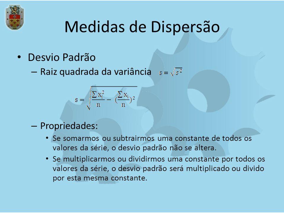 Medidas de Dispersão Desvio Padrão Raiz quadrada da variância