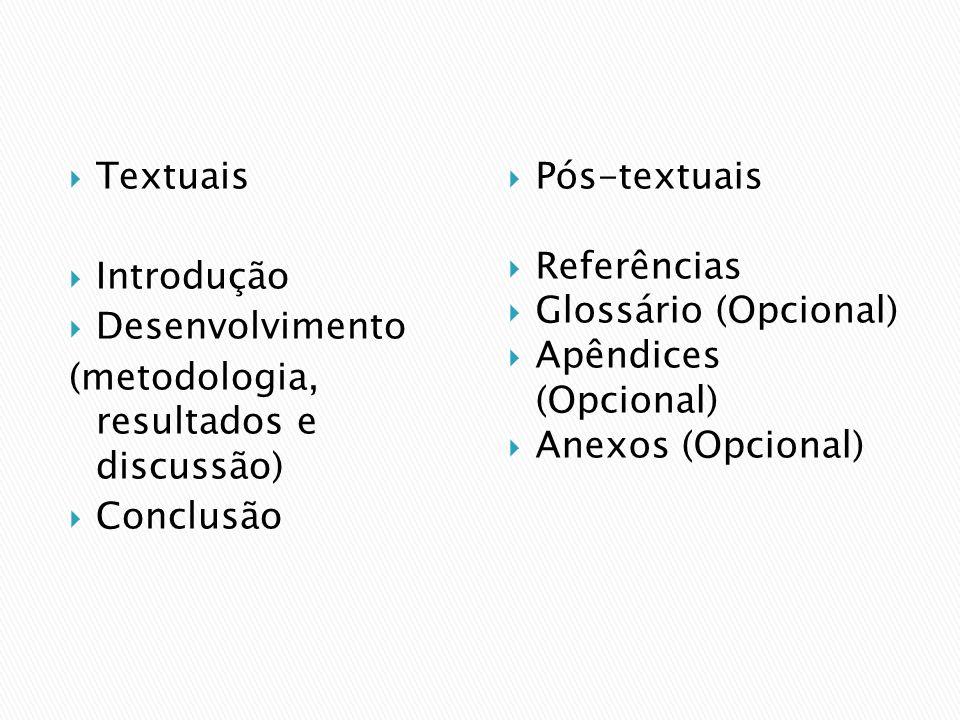 Textuais Introdução. Desenvolvimento. (metodologia, resultados e discussão) Conclusão. Pós-textuais.
