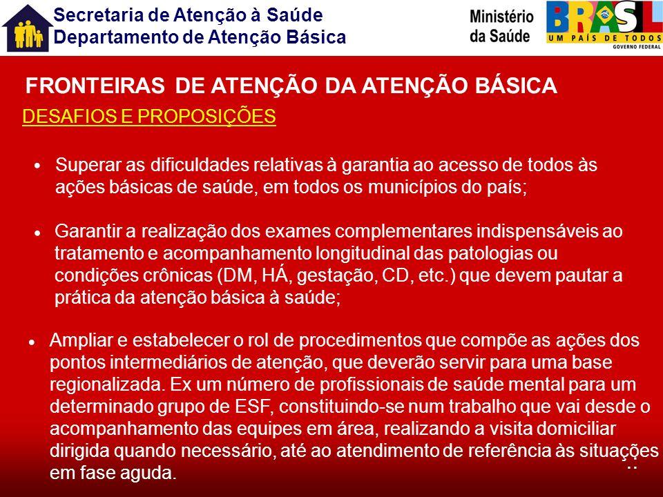 FRONTEIRAS DE ATENÇÃO DA ATENÇÃO BÁSICA
