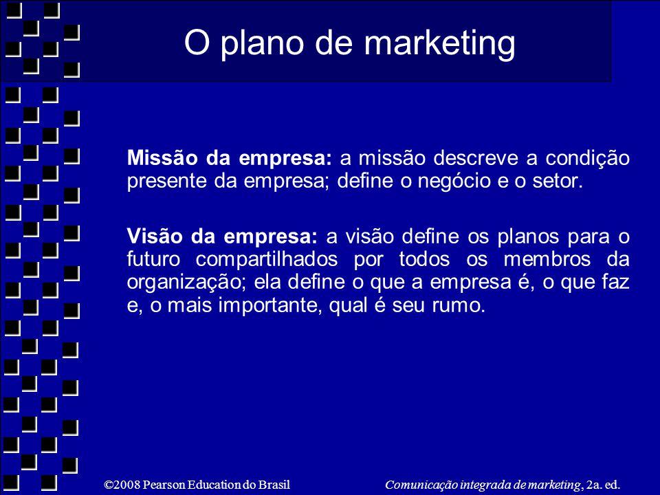 O plano de marketing Missão da empresa: a missão descreve a condição presente da empresa; define o negócio e o setor.