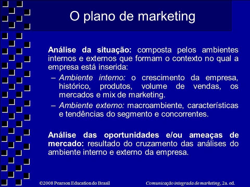 O plano de marketing Análise da situação: composta pelos ambientes internos e externos que formam o contexto no qual a empresa está inserida: