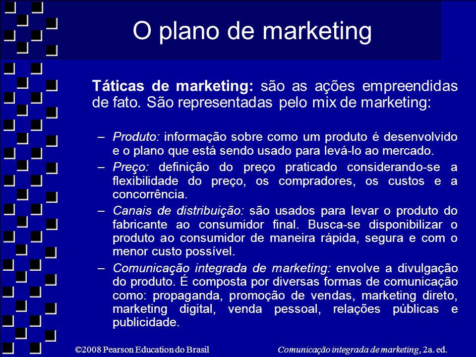 O plano de marketing Táticas de marketing: são as ações empreendidas de fato. São representadas pelo mix de marketing: