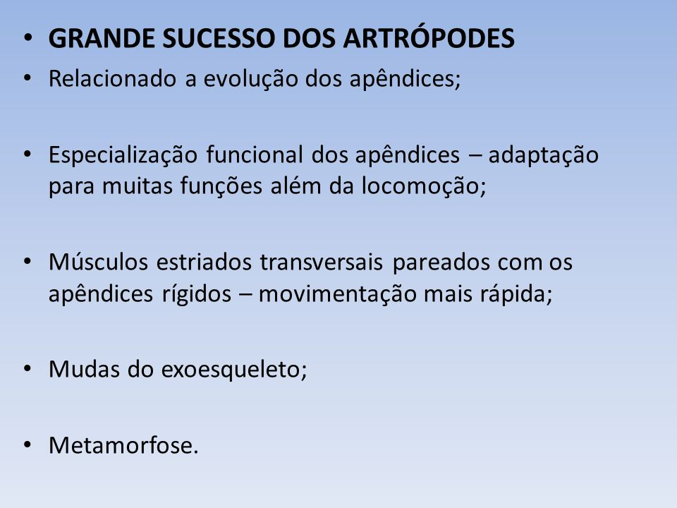 GRANDE SUCESSO DOS ARTRÓPODES