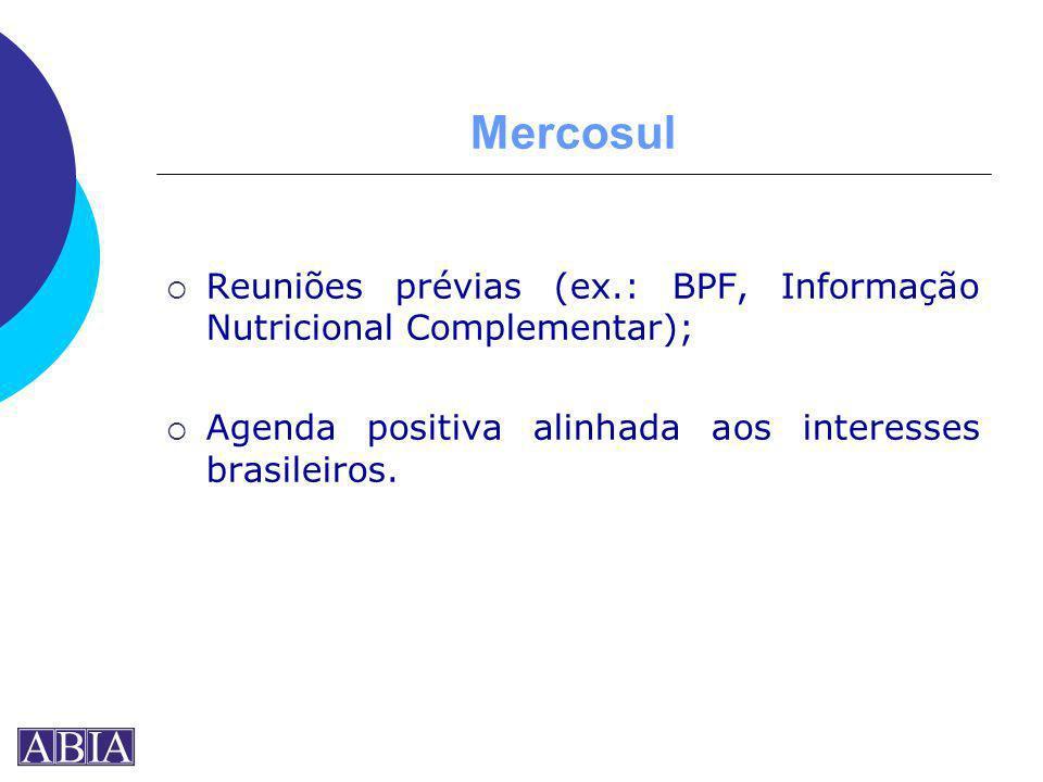Mercosul Reuniões prévias (ex.: BPF, Informação Nutricional Complementar); Agenda positiva alinhada aos interesses brasileiros.