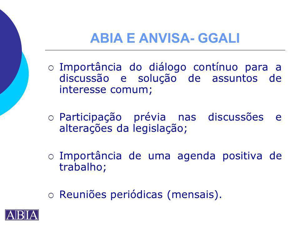 ABIA E ANVISA- GGALI Importância do diálogo contínuo para a discussão e solução de assuntos de interesse comum;