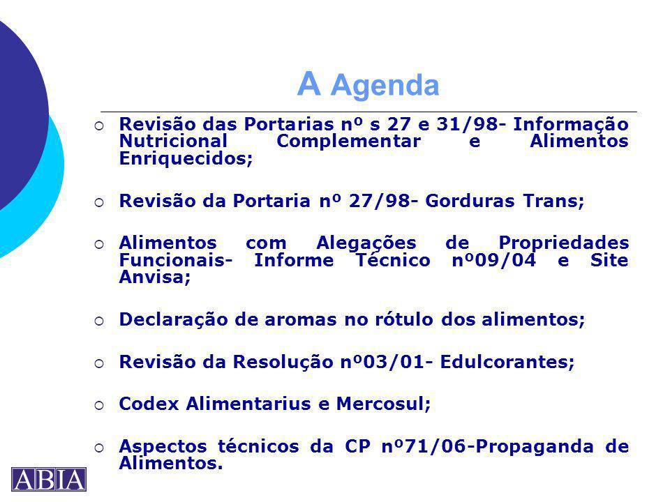 A AgendaRevisão das Portarias nº s 27 e 31/98- Informação Nutricional Complementar e Alimentos Enriquecidos;
