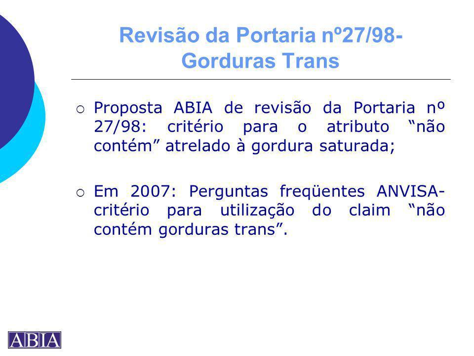 Revisão da Portaria nº27/98- Gorduras Trans