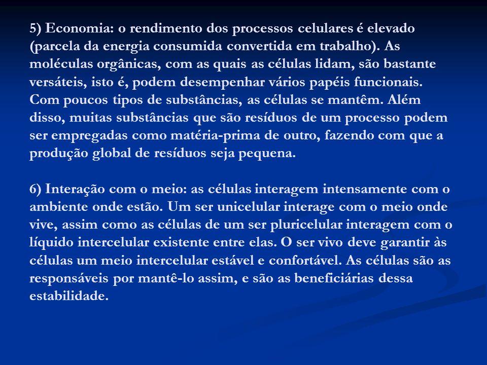 5) Economia: o rendimento dos processos celulares é elevado (parcela da energia consumida convertida em trabalho).