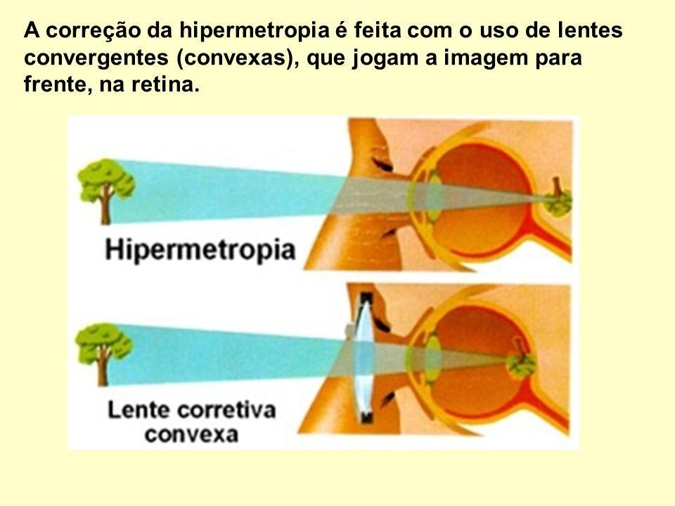 A correção da hipermetropia é feita com o uso de lentes convergentes (convexas), que jogam a imagem para frente, na retina.