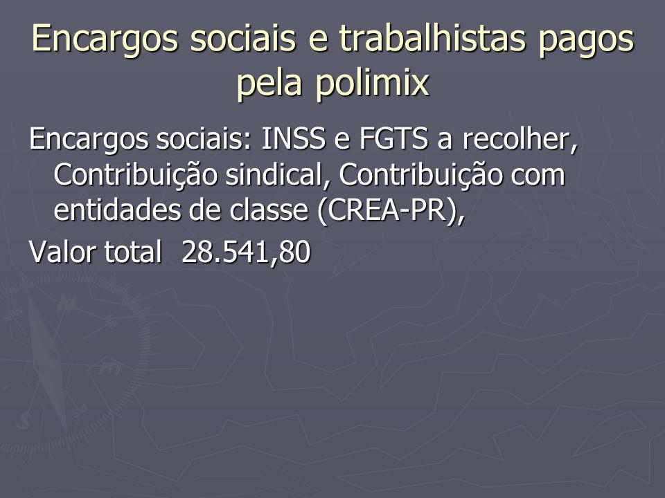 Encargos sociais e trabalhistas pagos pela polimix