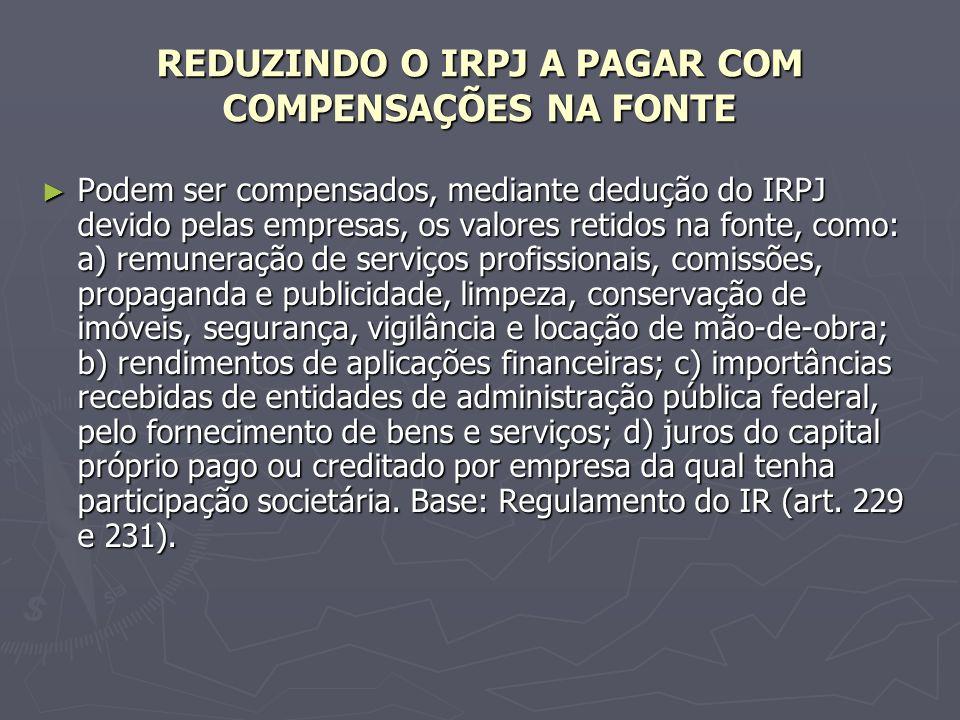 REDUZINDO O IRPJ A PAGAR COM COMPENSAÇÕES NA FONTE