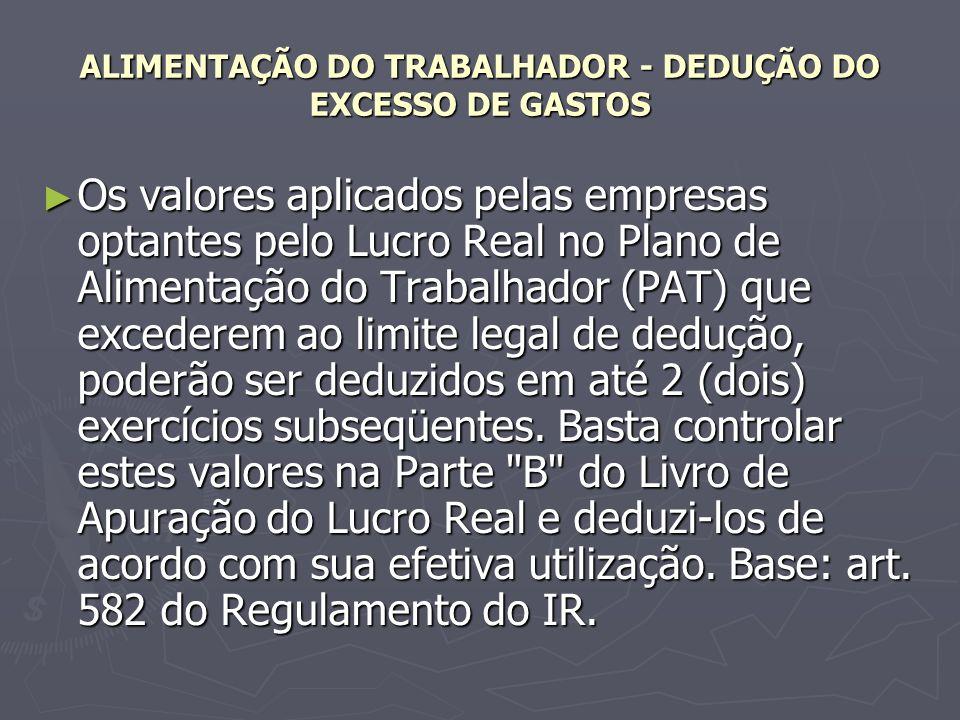 ALIMENTAÇÃO DO TRABALHADOR - DEDUÇÃO DO EXCESSO DE GASTOS