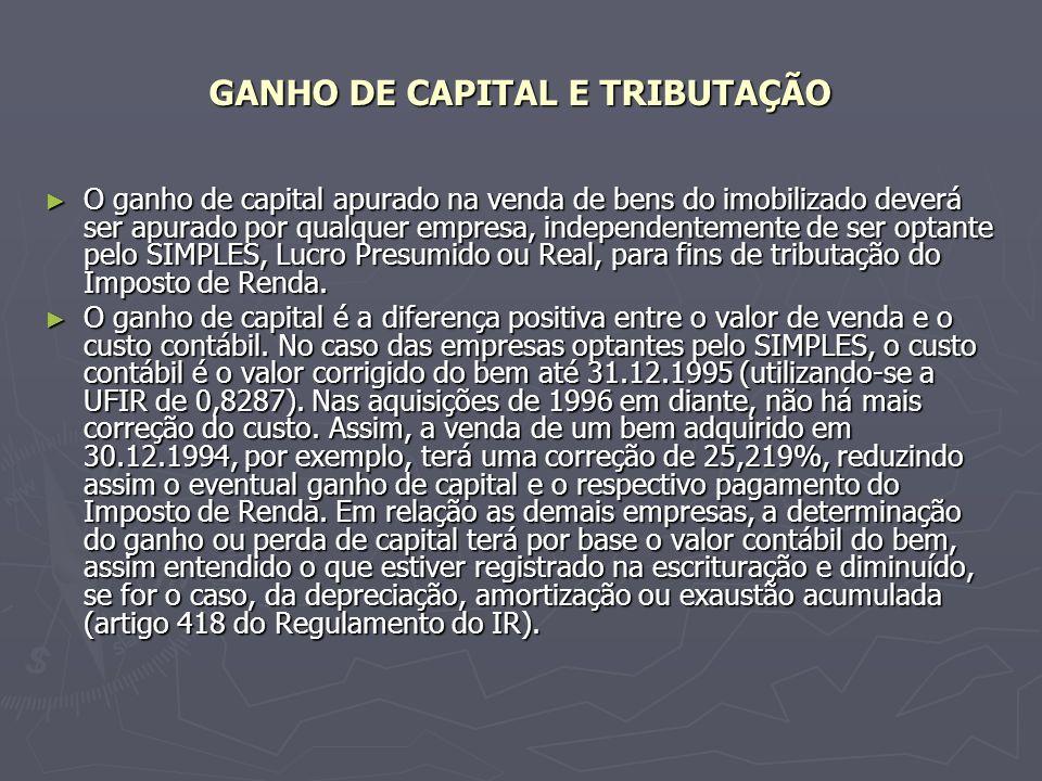 GANHO DE CAPITAL E TRIBUTAÇÃO