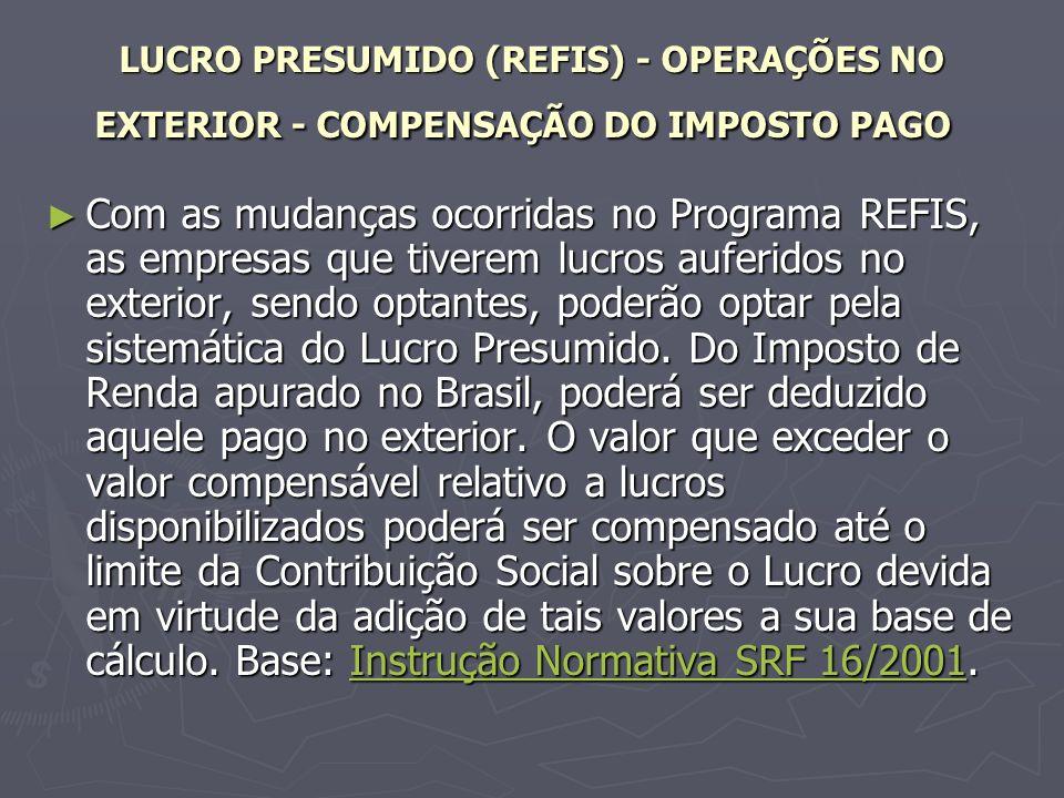 LUCRO PRESUMIDO (REFIS) - OPERAÇÕES NO EXTERIOR - COMPENSAÇÃO DO IMPOSTO PAGO
