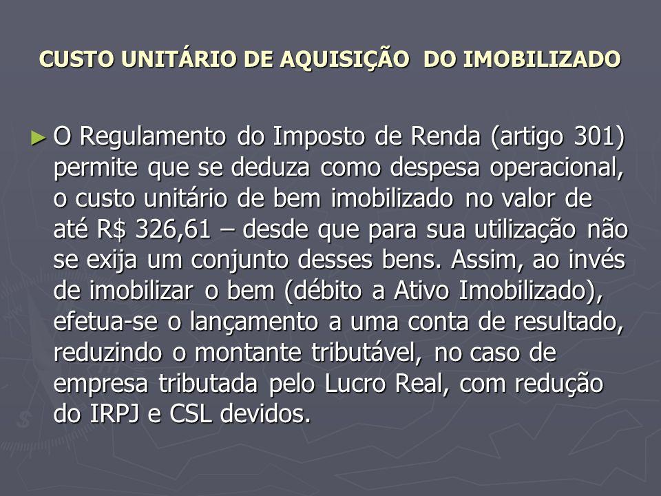 CUSTO UNITÁRIO DE AQUISIÇÃO DO IMOBILIZADO