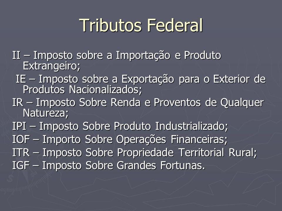 Tributos Federal II – Imposto sobre a Importação e Produto Extrangeiro; IE – Imposto sobre a Exportação para o Exterior de Produtos Nacionalizados;