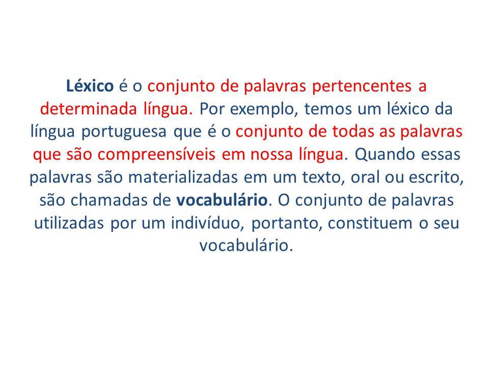 Léxico é o conjunto de palavras pertencentes a determinada língua