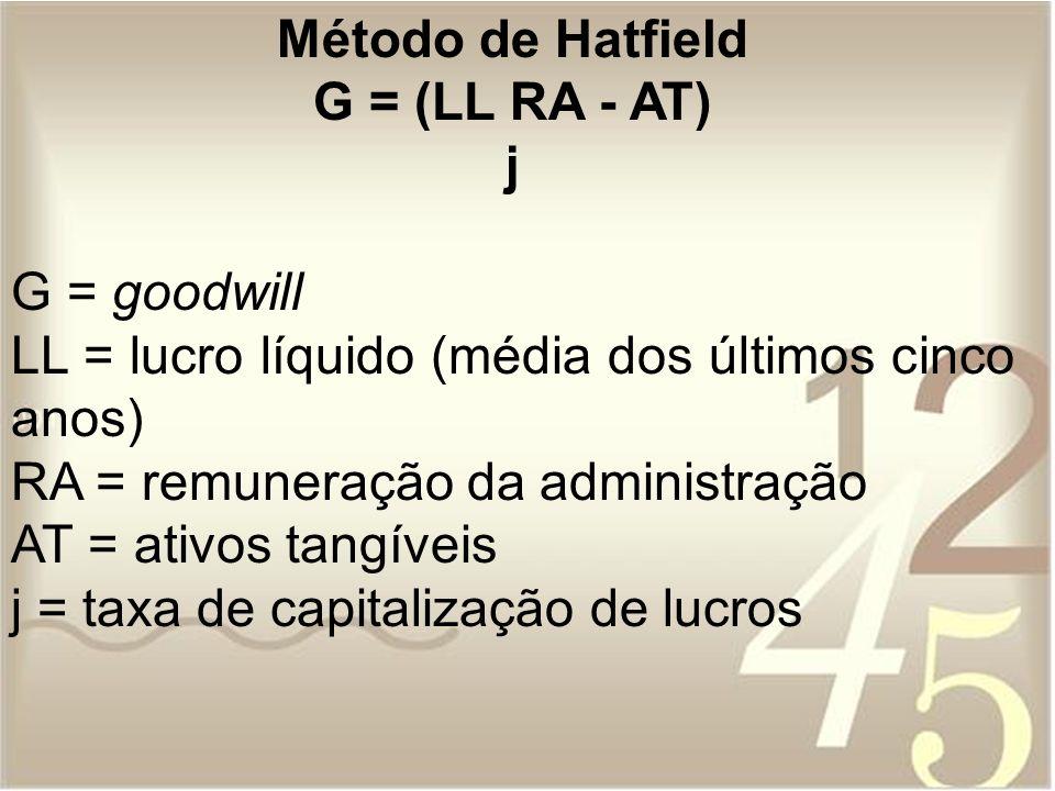 Método de HatfieldG = (LL RA - AT) j. G = goodwill. LL = lucro líquido (média dos últimos cinco anos)