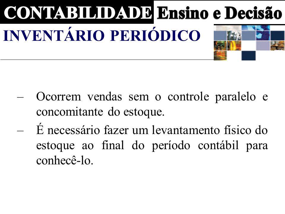 Inventário Periódico Ocorrem vendas sem o controle paralelo e concomitante do estoque.