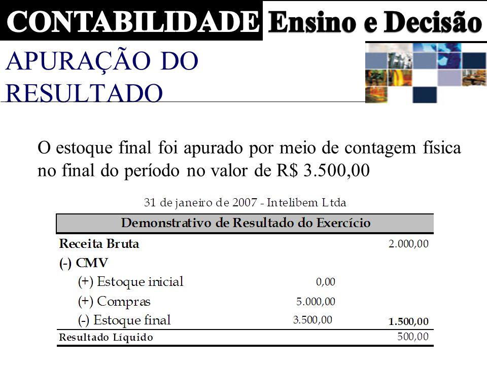 APURAÇÃO DO RESULTADO O estoque final foi apurado por meio de contagem física no final do período no valor de R$ 3.500,00.